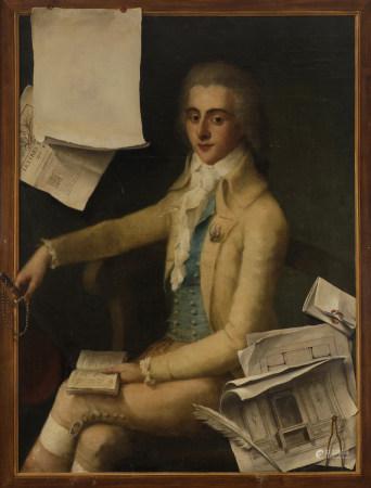 École FRANÇAISE vers 1785  - Portrait d'architecte au trompe l'œil  - Toile.  [...]