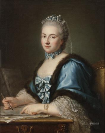 École FRANÇAISE vers 1760,  - entourage de Louis Michel VAN LOO  - Portrait de dame [...]
