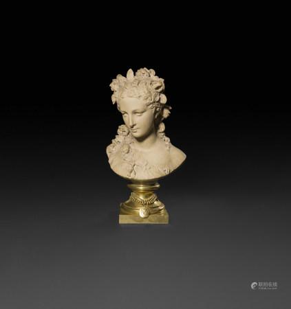 Albert Ernest Carrier Belleuse (1824 - 1887)  - Buste de femme à la couronne fleurie [...]
