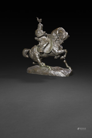 Antoine-Louis Barye (1796 - 1875)  - Guerrier tartare (arrêtant son cheval)  - Fonte [...]
