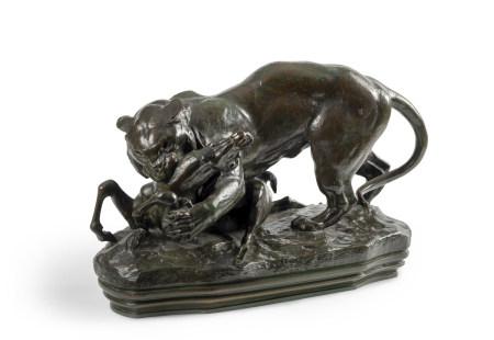 Antoine-Louis Barye (1796 - 1875)  - Tigre surprenant une antilope (terrasse avec [...]