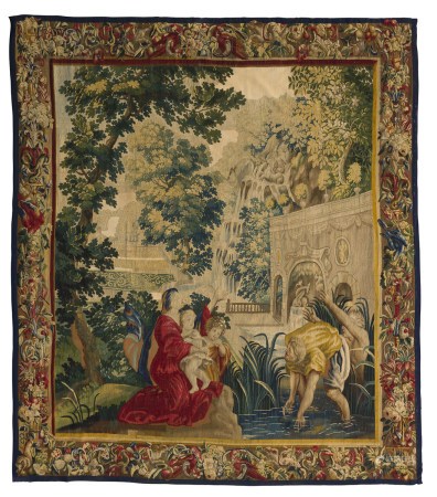 Tapisserie d'Audenarde représentant Latone et les paysans de Lycie, la bordure à [...]