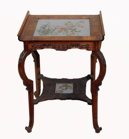 Chinese, Antique Cloisonne Inset Hardwood Table
