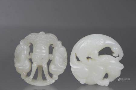 (2) Carved Chinese Jade Circular Pendants