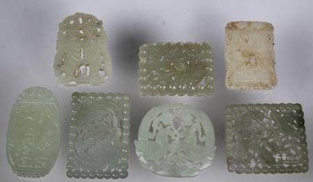 (7) Chinese Carved Jade Pendants
