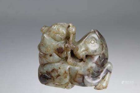 Chinese Carved Figure on Animal