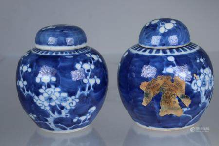 Marked, Chinese Hawthorne Pattern Lidded Jars