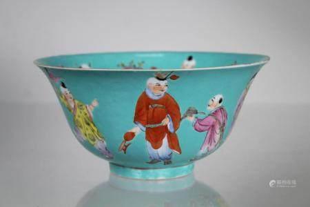Chinese Enameled Porcelain Bowl, Marked