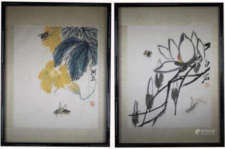 (2) Qi Baishi Woodblock Prints