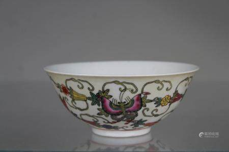 Chinese Multi-Colored Butterfly Bowl, Marked