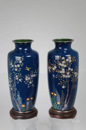 (2) Japanese Cloisonne Vases on Stand