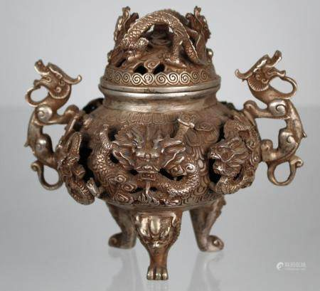 Chinese Silvered-Bronze Dragon Form Censer, Signed
