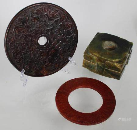 (3) Chinese Carved Stone Archaic Style Articles