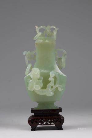 Chinese Carved Apple-Green Jade Vase on Stand