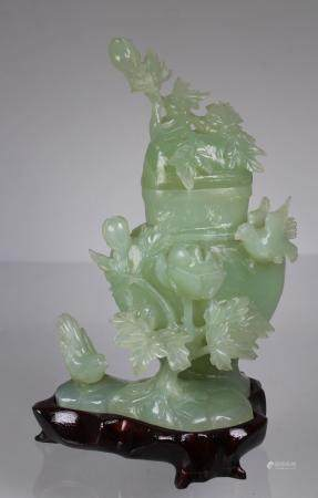 Chinese Carved Jade Lidded Vase on Stand