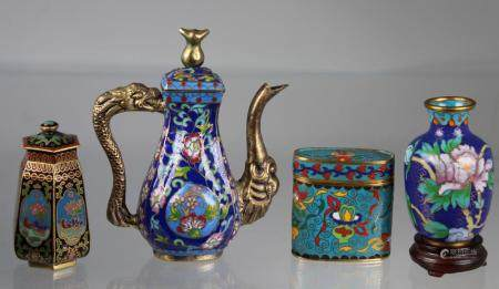 (4) Chinese Cloisonne Vessels