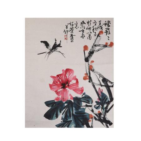 许麟庐 花卉  纸本立轴
