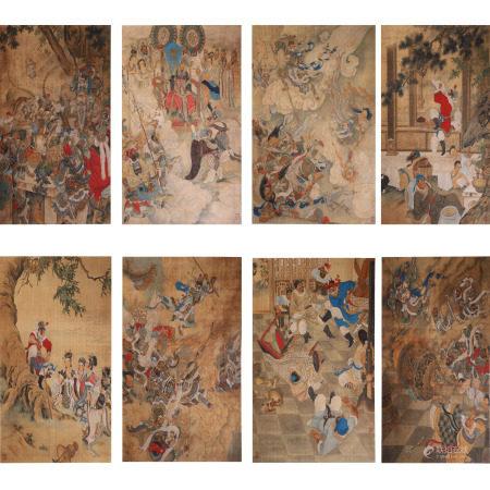 刘继卣 大闹天宫八条屏 绢本立轴