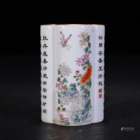 清 乾隆 粉彩海棠形花卉诗文笔筒