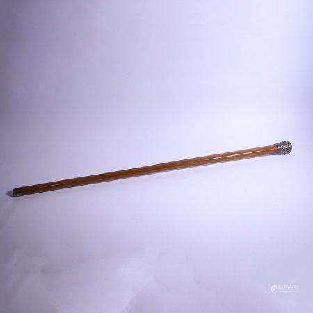 19世纪 纯银包藤手杖
