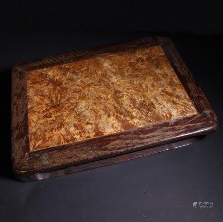 民国 红木嵌瘿木茶台