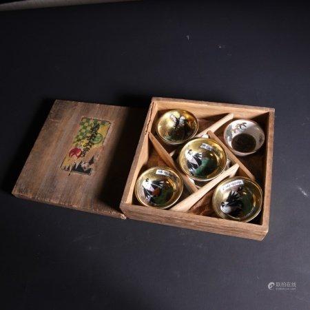 19世纪 日式人物杯一套