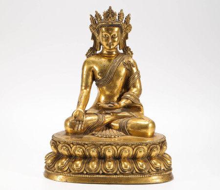明代铜鎏金释迦摩尼 坐像