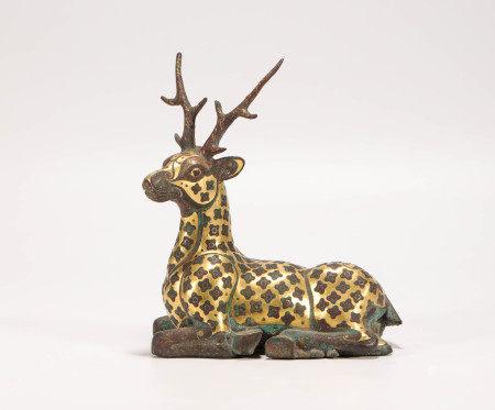 汉代铜制错金银鹿型摆件