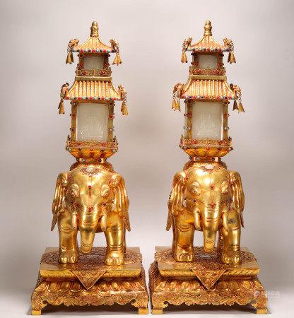 清代铜鎏金太平有象灯台