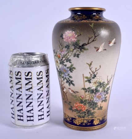 A LOVELY 19TH CENTURY JAPANESE MEIJI PERIOD SATSUMA VASE by Kinkozan, painted with birds in flight a