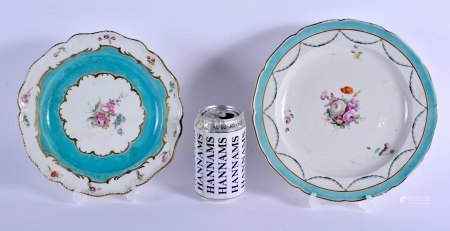 TWO 18TH CENTURY CHELSEA DERBY PORCELAIN PLATES painted upon a turquoise blue border. Largest 22 cm