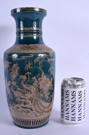 A 19TH CENTURY CHINESE GREEN GLAZED PORCELAIN ROULEAU VASE bearing Kangxi marks to base, painted wit