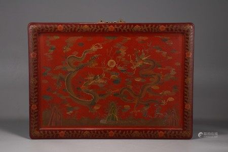 Polychrome Lacquer Dragons Panel Qing Dynasty