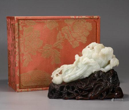 Carved White Jade Veggies Qing Dynasty
