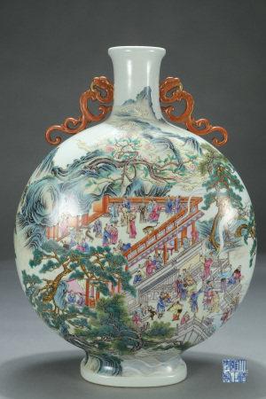 Antique Famille Rose Figural Vase