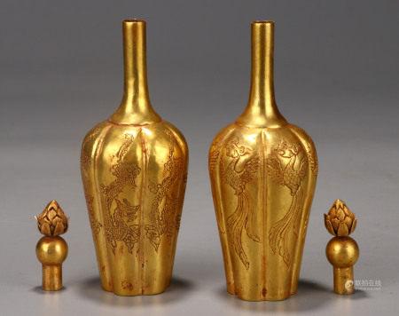 Pair Bronze Gilt Vases Qing Dynasty