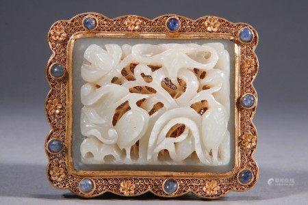 Chinese Jade Plaque Inlaid Gilt Bronze Belt Button