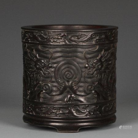 Antique Carved Rosewood Brushpot