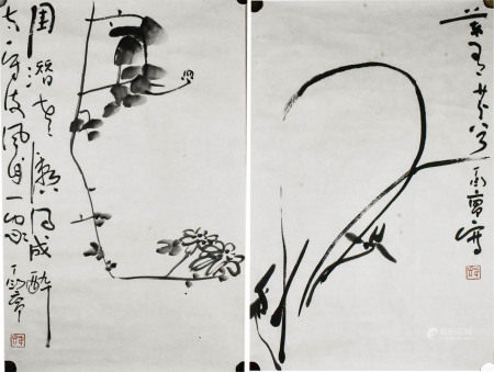 Ding Yanyong (1902-1978) Two Views Of Florals