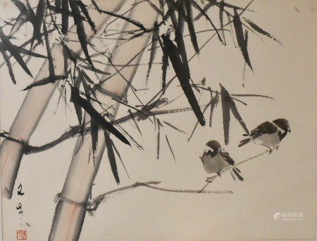 Chen Wen Hsi (1906-1991) Bamboo and Bird