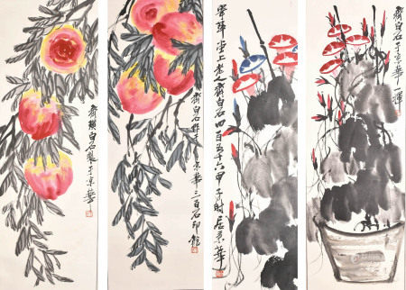 After Qi Bai Shi (1864-1957) Flowers and Fruits