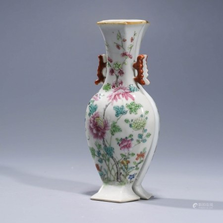 A PAIR OF FAMILLE ROSE FLORAL PORCELAIN WALL VASES