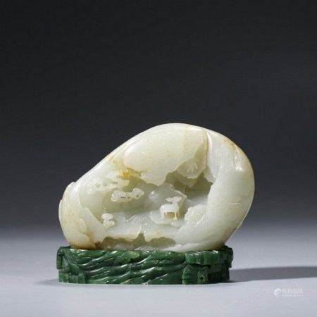 A White Jade Ornament with Jasper Standing