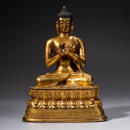 A Gild Bronze Statue of Dipamkara Buddha