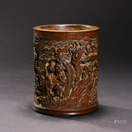 A CARVED BAMBOO 'CRANE AND SCHOLAR' BRUSH POT