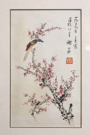 A SCROLL PAINTING OF FLOWERS AND BIRDS, XIE ZHI LIU MARK
