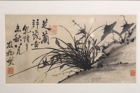 A SCROLL PAINTING OF ORCHID, ZHENG BAN QIAO MARK