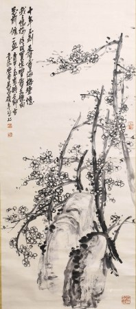 A SCROLL PAINTING OF PLUM BLOSSOMS, WU CHANG SHUO MARK