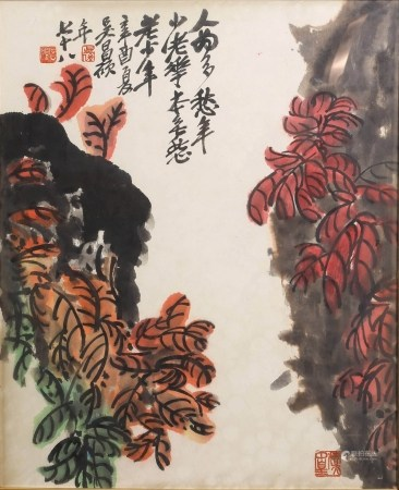 A SCROLL PAINTING OF FLOWERS, WU CHANG SHUO MARK