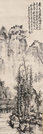 A SCROLL PAINTING OF MOUNTAINS AND RIVERS, WANG ZHEN MARK